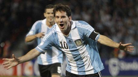 Argentina's Lionel Messi celebrates after scoring against Uruguay