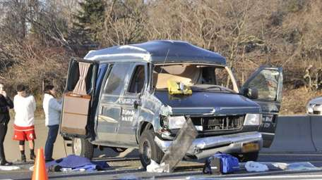 A van driver escaped serious injury despite being