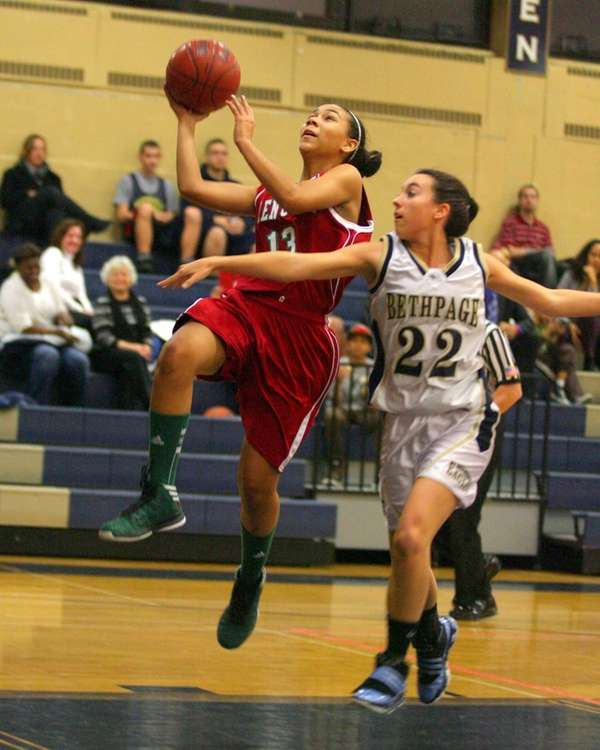 Glen Cove's Taylah Hudson drives past Bethpage's Jacqueline