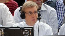 TNT announcer Marv Albert watches the Heat vs.