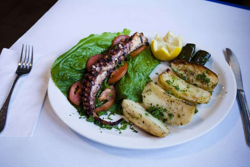 Glistening with lemon and olive oil, a chargrilled