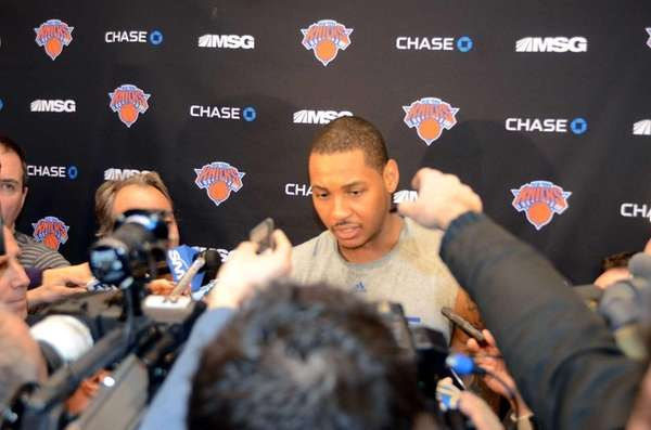 New York Knicks Carmelo Anthony addresses the media