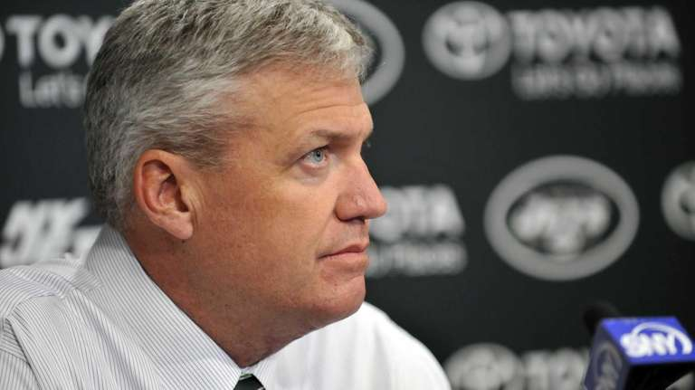 Rex Ryan addresses the media at the Jets