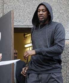 Brooklyn Nets basketball player Andray Blatche leaves the