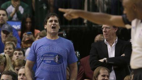 Dallas Mavericks owner Mark Cuban yells at a
