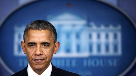 U.S. President Barack Obama delivers a statement on