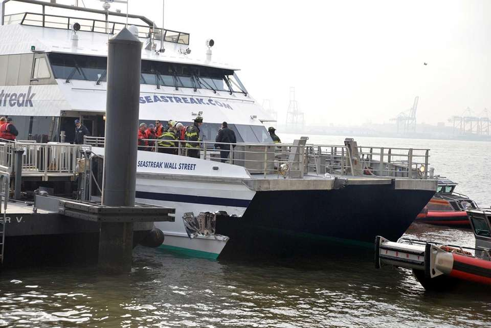 Emergency personnel at scene of a ferry accident