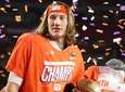 Trevor Lawrence of the Clemson Tigers celebrates a