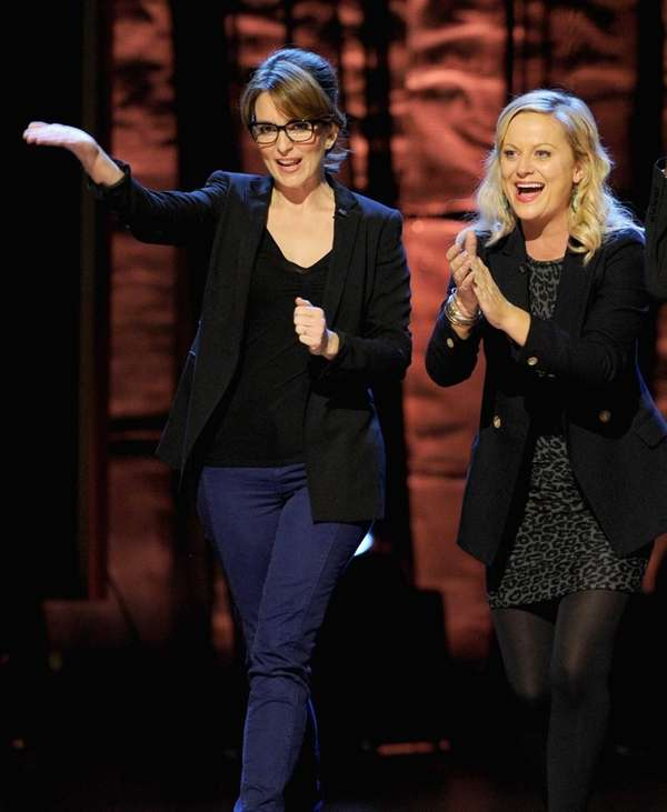 From left, Tina Fey and Amy Poehler onstage