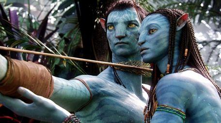 "Sam Worthington and Zoe Saldana in ""Avatar."""
