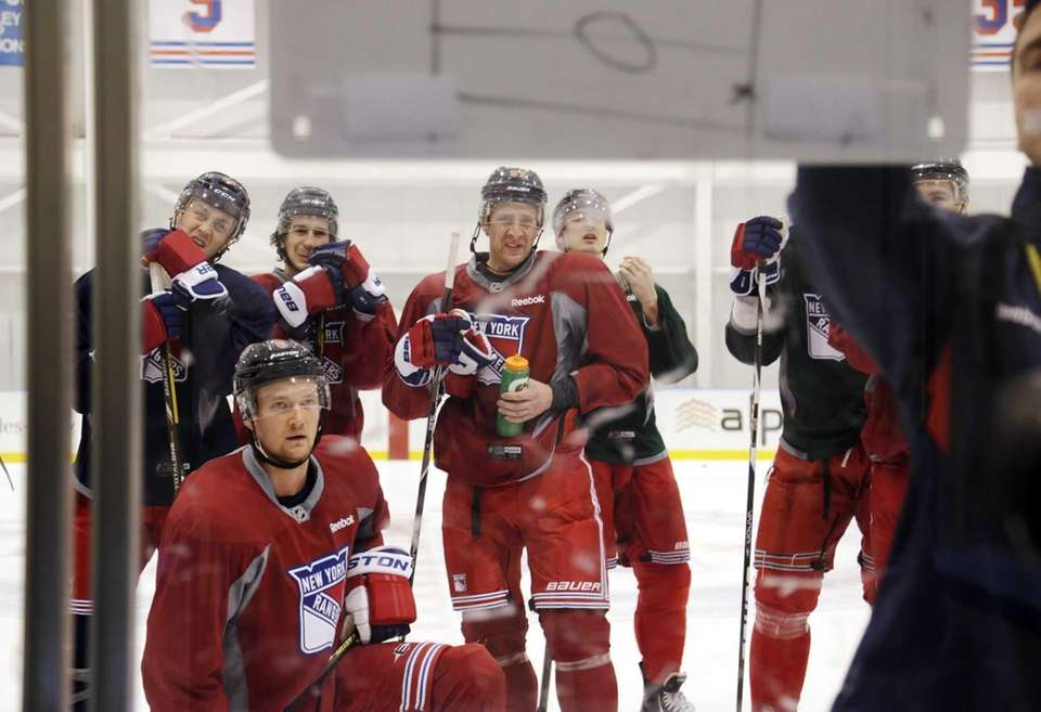 New York Rangers, including Anton Stralman, front left,