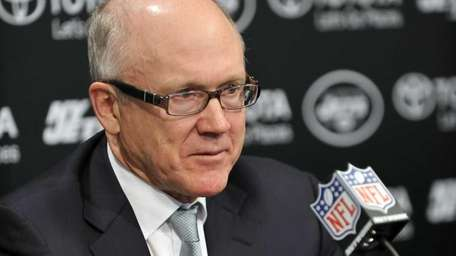Woody Johnson meets the media for the Jets