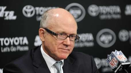 Woody Johnson meets with the media in the