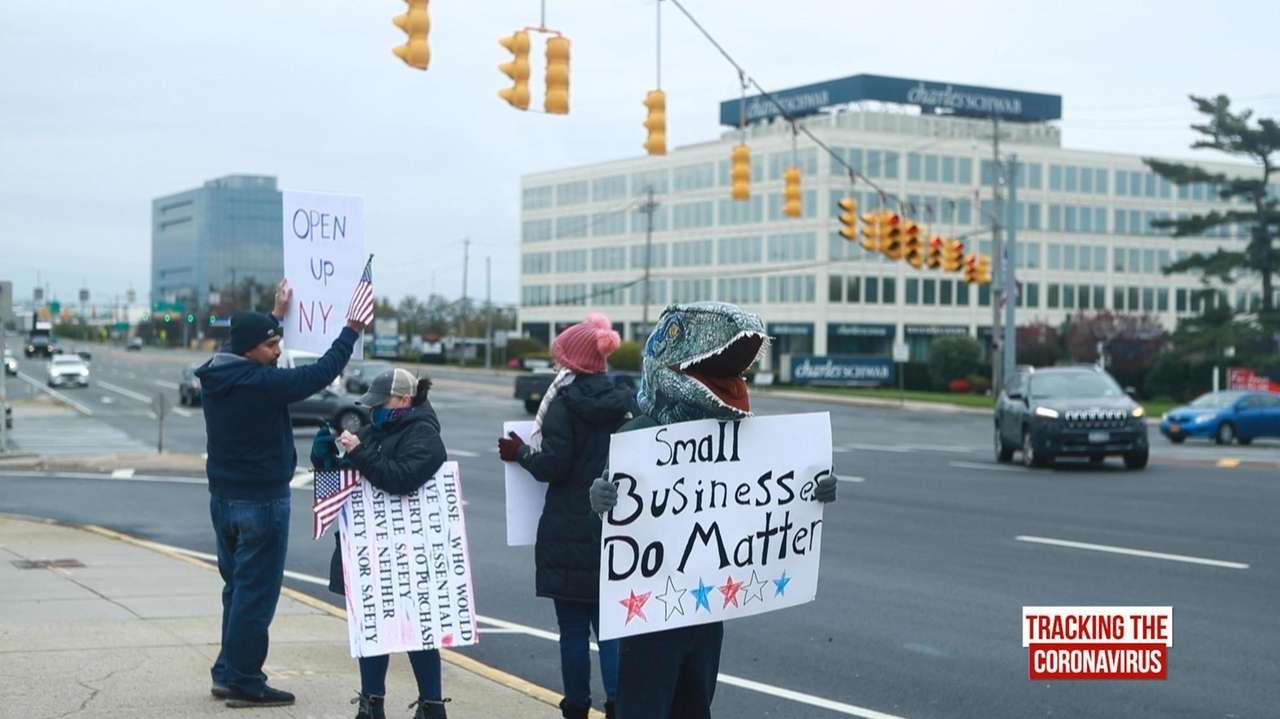 Demonstrators protested on Old Country Road in Carle
