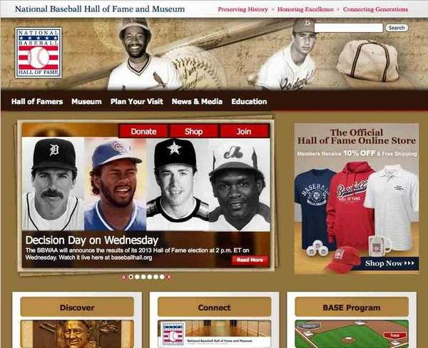 A screengrab of baseballhall.org at 1:33 p.m. ET