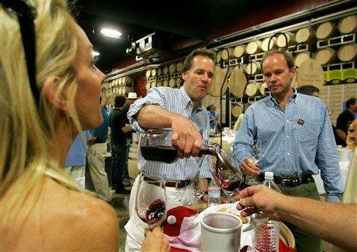 Winemaker Doug Shafer pours a Shafer Vineyards wine