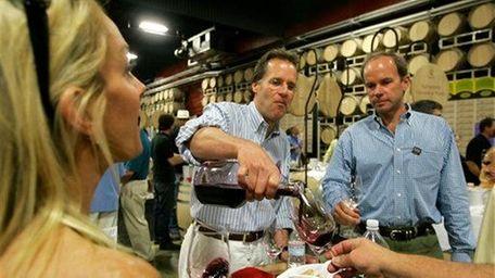 Winemaker Doug Shafer pours a Shafer Vineyards wine