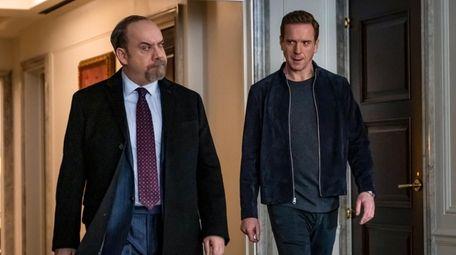 Paul Giamatti (left) as Chuck Rhoades and