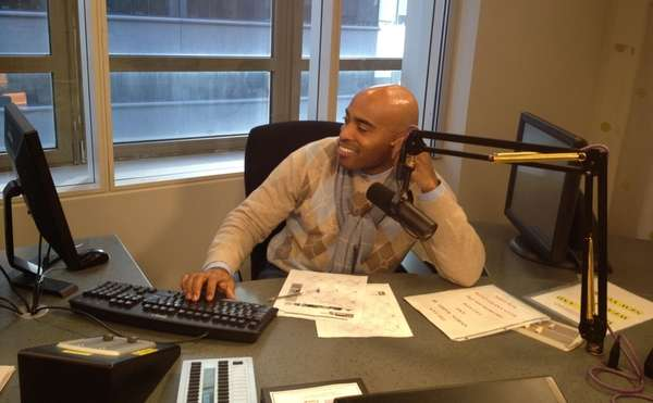Tiki Barber in the CBS Sports Radio studio