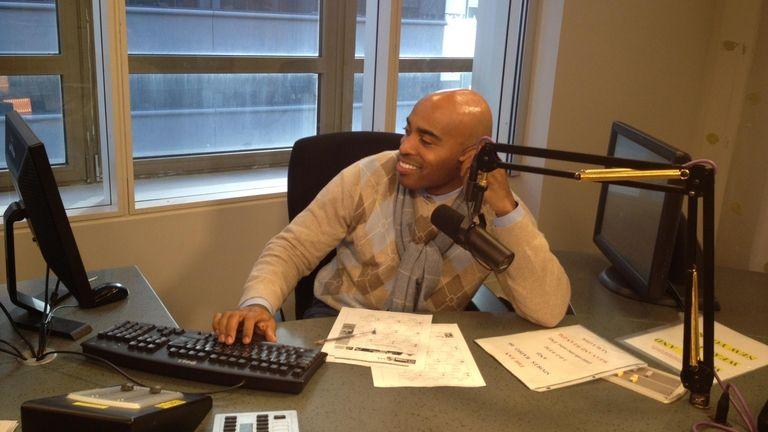 Tiki Barber in the CBS Sports Radio studio