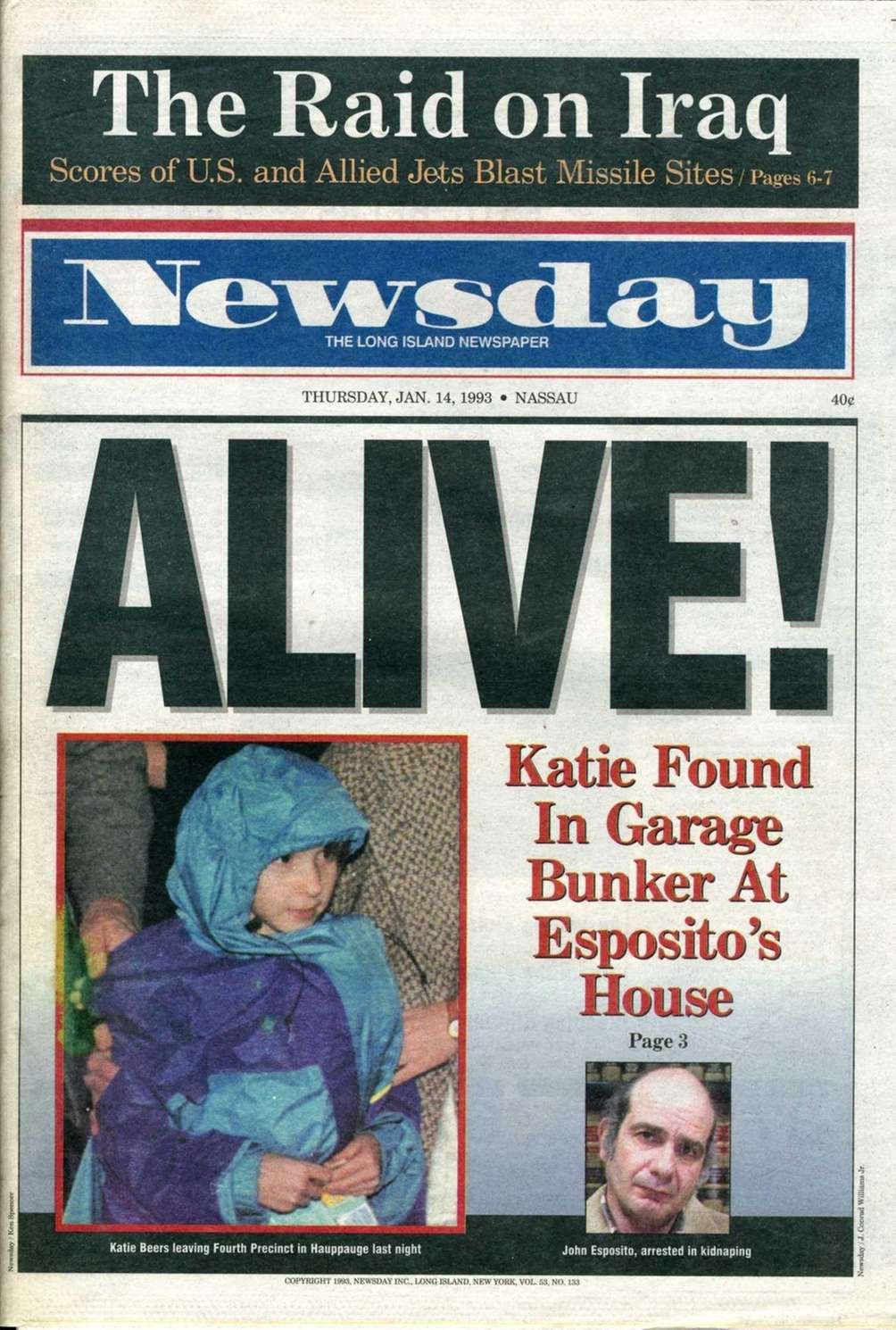 Newsday's front page showing Katie Beers leaving the