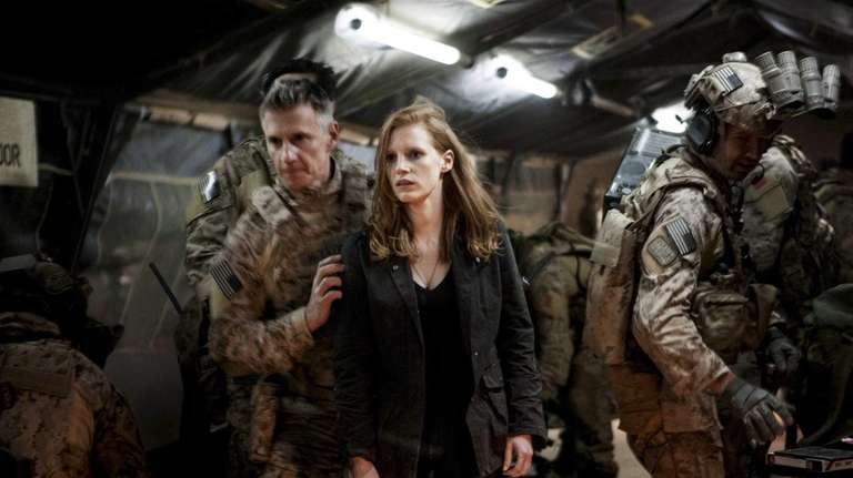 Stationed in a covert base overseas, Jessica Chastain