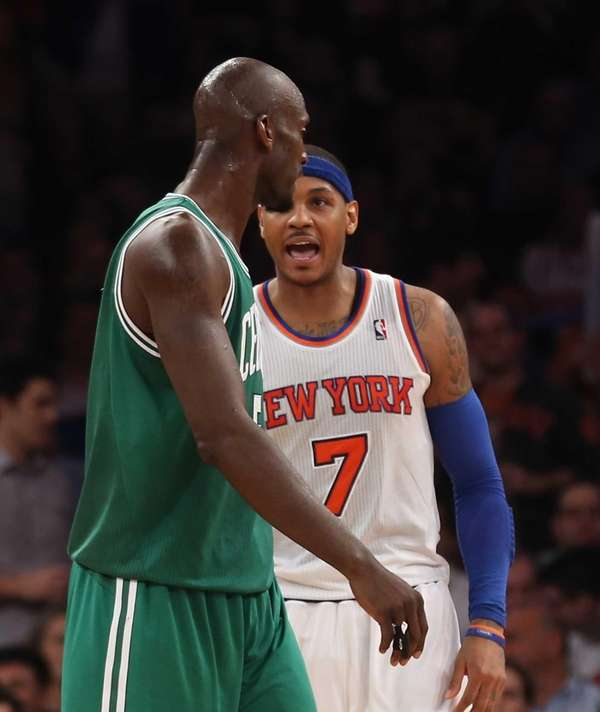 Carmelo Anthony yells at Boston Celtics forward Kevin