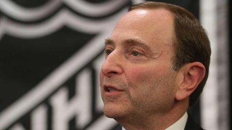 NHL commissioner Gary Bettman speaks with the media