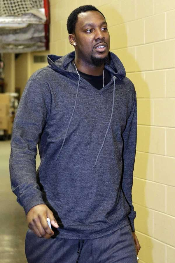 Brooklyn Nets forward Andray Blatche arrives for a
