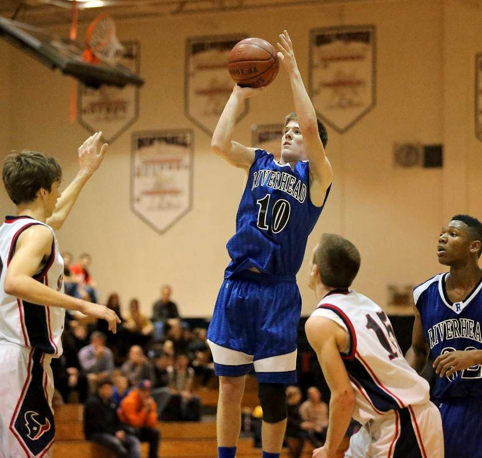 Riverhead's Ryan Bitzer attempts a jump shot during