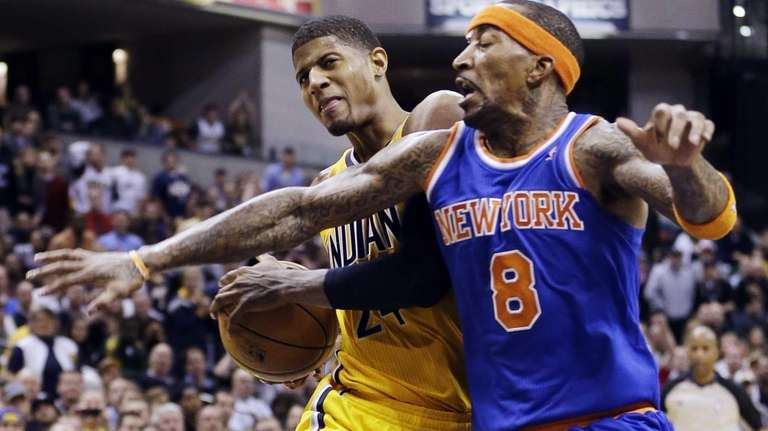 Indiana Pacers forward Paul George (24) goes to
