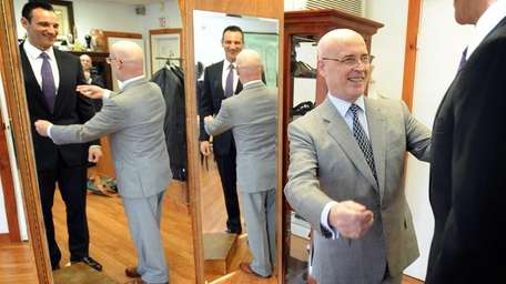 Bespoke tailor Sebastiano Montella, gray suit, with a
