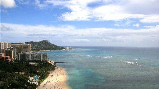 Duke Kahanamoku Beach in Waikiki, Hawaii. It is