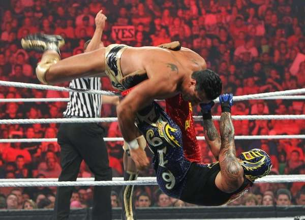 Alberto Del Rio flips over the top of