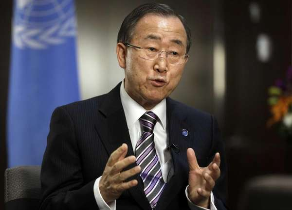 United Nations Secretary Gen. Ban Ki-moon responds to
