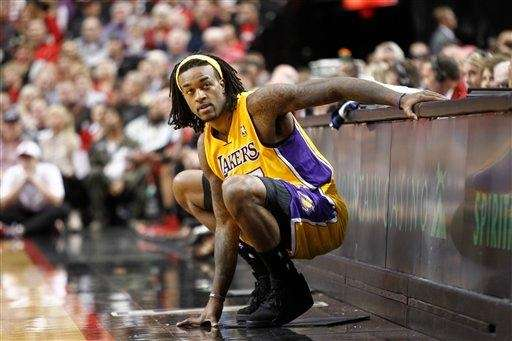 Los Angeles Lakers forward Jordan Hill is waits