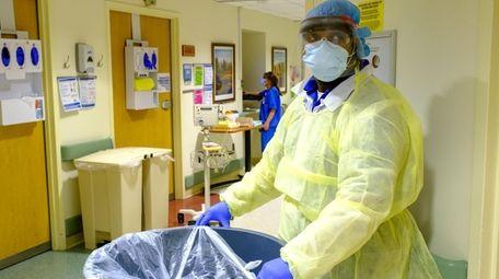 An environmental service worker at Huntington Hospital on