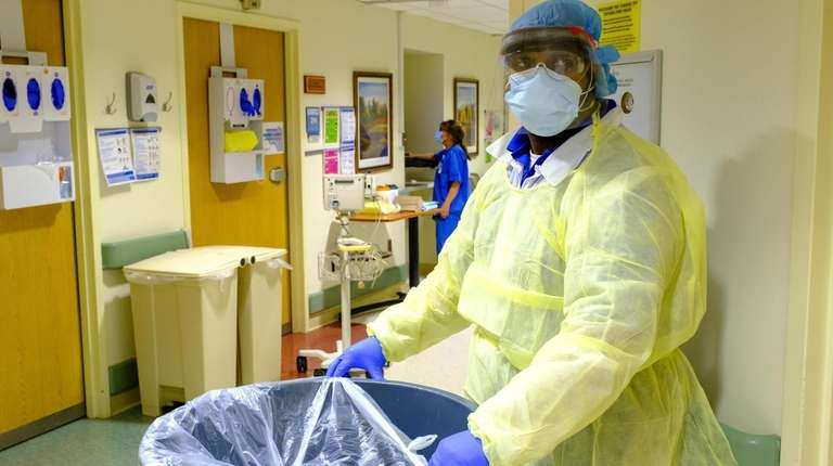 An environmental service worker at Huntington Hospital on