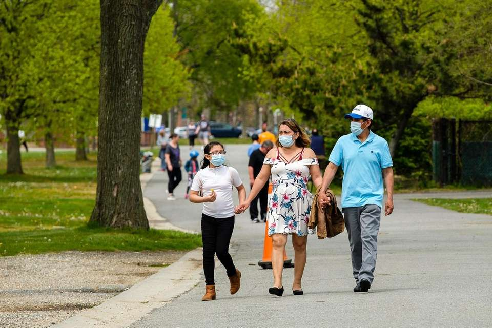 People visit Eisenhower Park to get some fresh