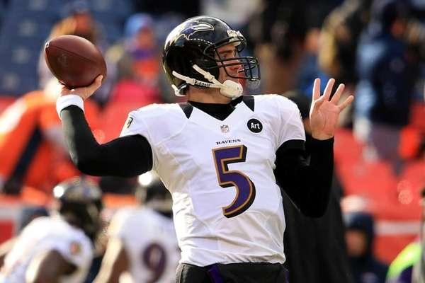 Baltimore Ravens quarterback Joe Flacco warms up before