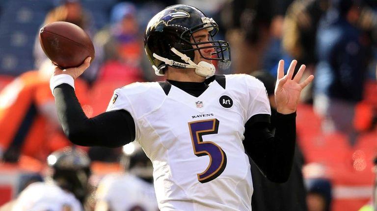 Baltimore Ravens quarterback Joe Flacco warms up before