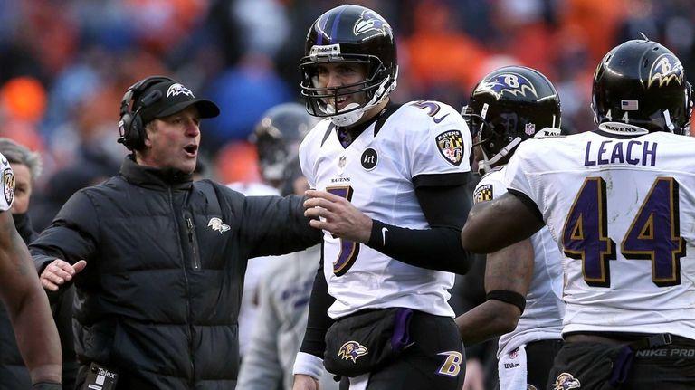 Baltimore Ravens quarterback Joe Flacco and head coach
