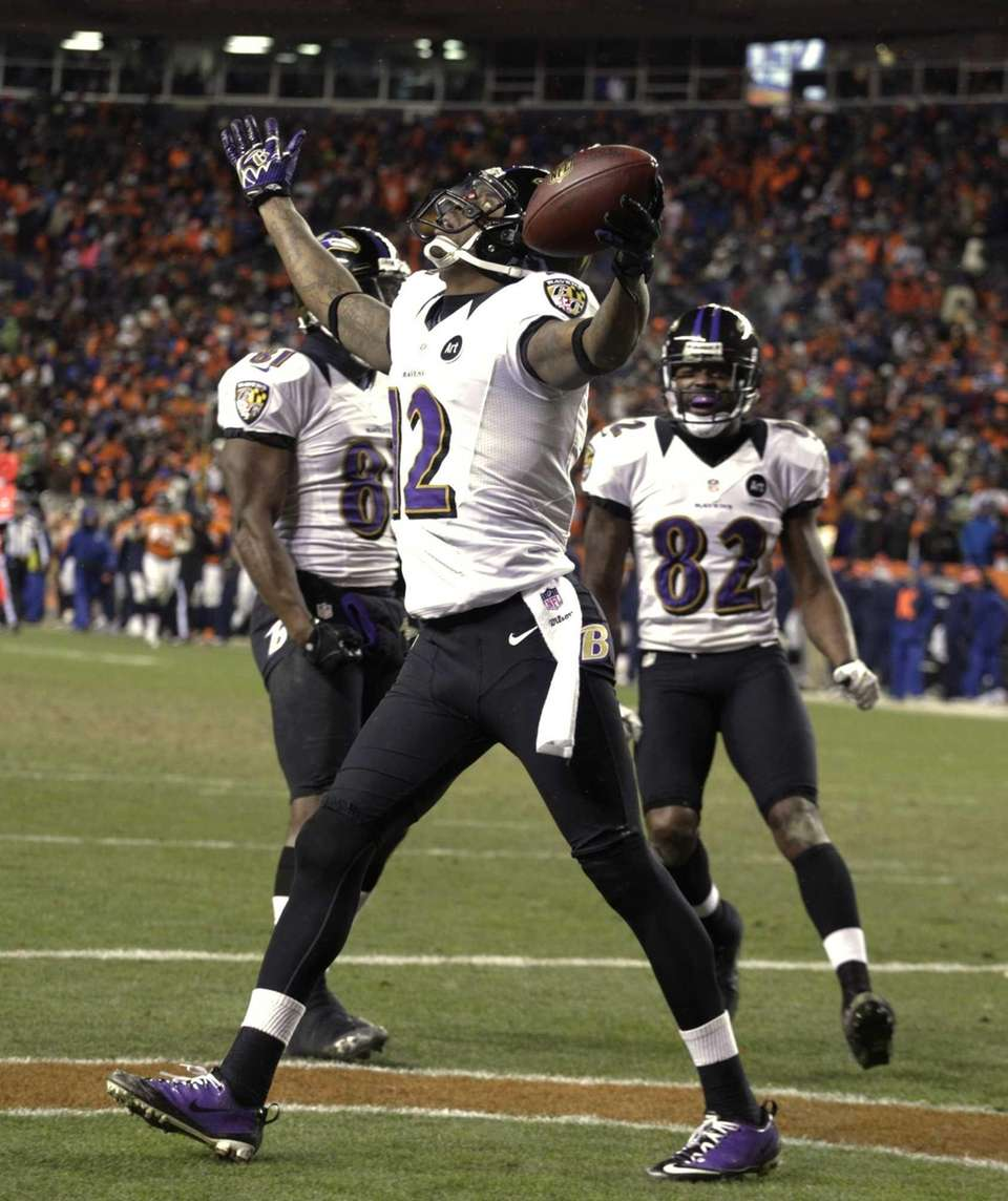 Baltimore Ravens wide receiver Jacoby Jones (12) reacts