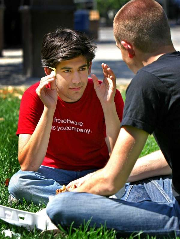 Business partners Aaron Swartz, left, and Simon Carstensen,