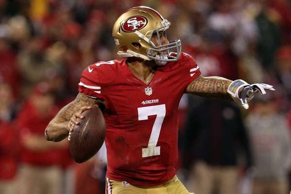 San Francisco 49ers quarterback Colin Kaepernick #7 looks
