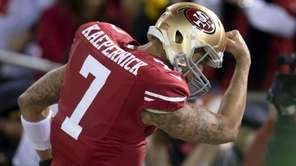 San Francisco 49ers quarterback Colin Kaepernick (7) celebrates