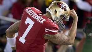San Francisco 49ers quarterback Colin Kaepernick (7) celebrates