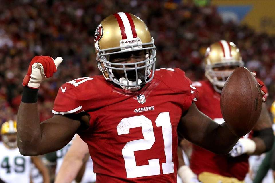 San Francisco 49ers running back Frank Gore celebrates