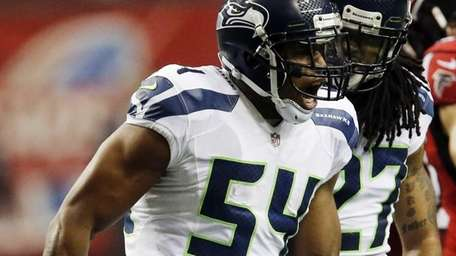 Seahawks middle linebacker Bobby Wagner reacts with Seattle