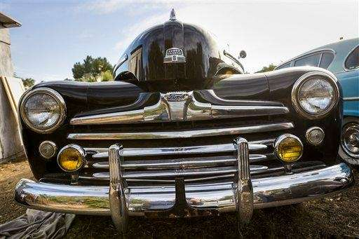 A bullet-nosed 1947 Ford Sedan that served as